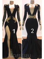 Sexy Black Long Sleeve Appliques Trumpet/Mermaid Prom Dress