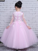 Ball Gown Long Sleeves Zipper-Up Flower Girl Dress