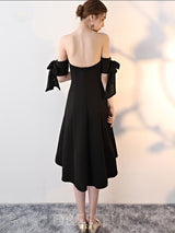 Off-The-Shoulder Asymmetry A-Line Short Sleeves Cocktail Dress