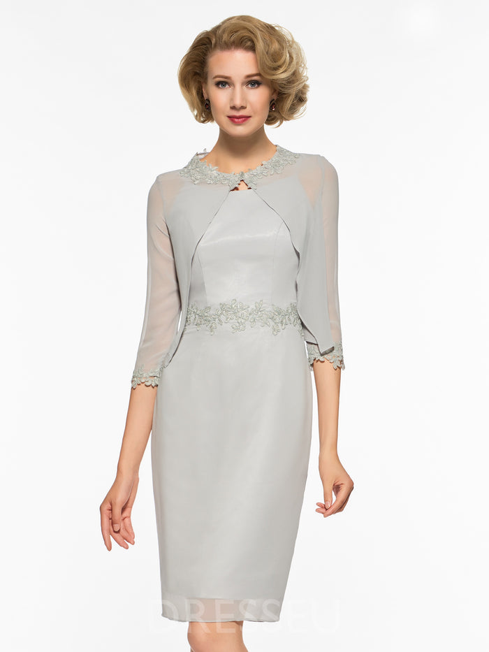Sheath/Column Appliques Knee-Length Half Sleeves Mother of the Bride Dress