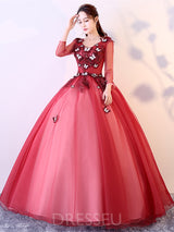 V-Neck Ball Gown Long Sleeves Floor-Length Quinceanera Dress