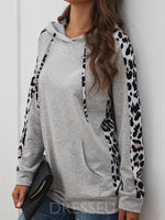 Print Regular Leopard Mid-Length Long Sleeve Hoodie