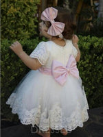 Short Sleeves Appliques Bowknot Christening Gown