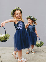 Sequins Splice Tulle Sleeveless Flower Girl Dress
