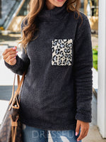 Regular Color Block Print Mid-Length Thick Hoodie