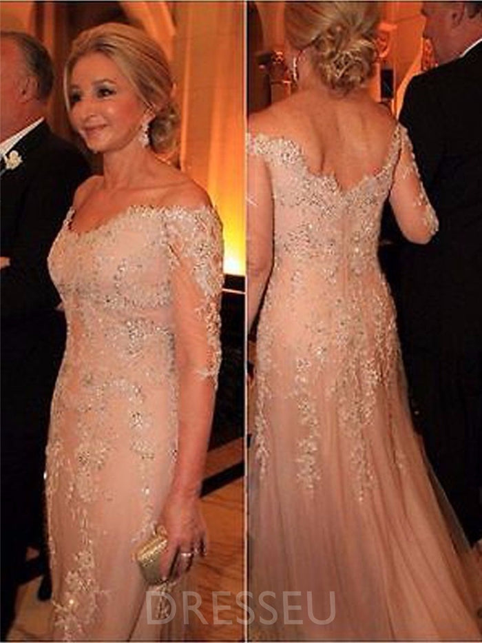 Sheath/Column 3/4 Length Sleeves Appliques Off-The-Shoulder Mother of the Bride Dress