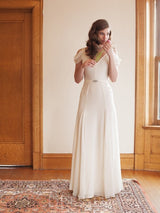 Floor-Length Beading V-Neck Sleeveless Beach Wedding Dress