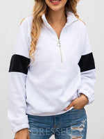 Color Block Regular Zipper Lapel Long Sleeve Hoodie
