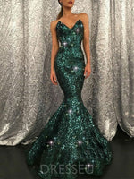 Sequins Trumpet/Mermaid Sleeveless V-Neck Floor-Length Prom Dress