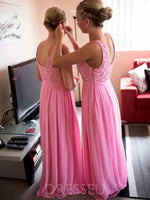 Sleeveless Lace Floor-Length A-Line Prom Dress