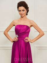 A-Line Strapless Beading Sleeveless Mother of the Bride Dress