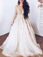 Long Sleeves A-Line Floor-Length Appliques Hall Wedding Dress