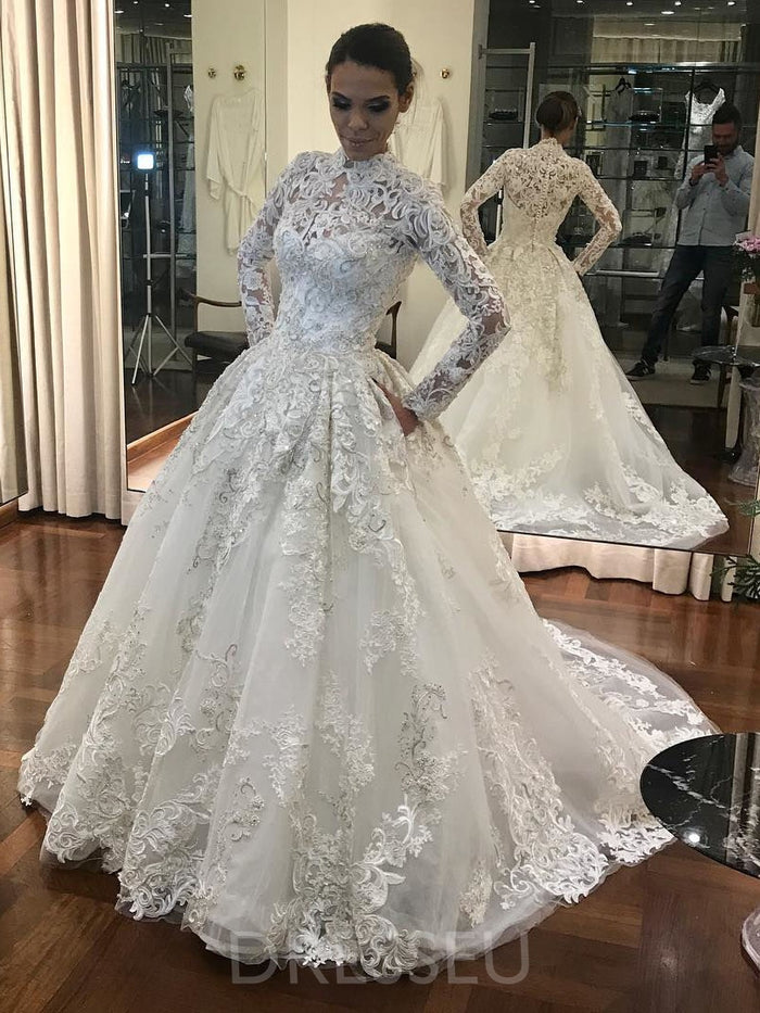 Court High Neck Ball Gown Appliques Luxury Wedding Dress