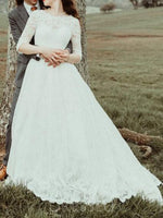 Scoop Half Sleeves A-Line Sweep/Brush Hall Wedding Dress