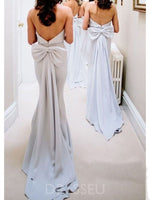 Strapless Floor-Length Bowknot Sleeveless Bridesmaid Dress