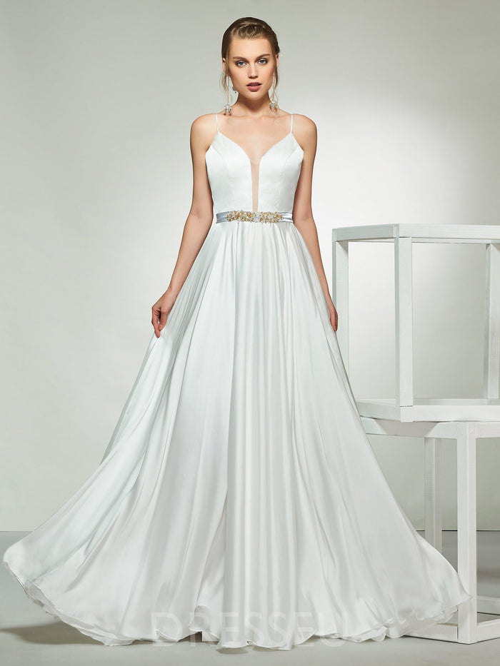 Floor-Length Sleeveless Bowknot A-Line Hall Wedding Dress
