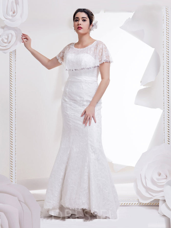 Floor-Length Court Lace Cap Sleeves Wedding Dress