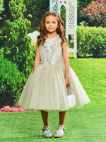 Knee-Length Ball Gown Lace Beading Flower Girl Dress