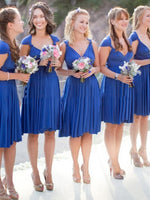 Draped Cap Sleeves V-Neck A-Line Bridesmaid Dress