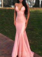 Trumpet/Mermaid Sweep/Brush Spaghetti Straps Floor-Length Prom Dress