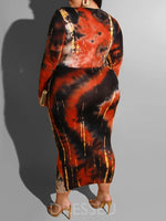 V-Neck Long Sleeve Tie-Dye Pullover Spring Dress