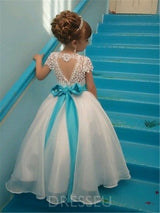 Lace Short Sleeves Beading Flower Girl Dress with Sashes/Ribbons