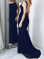 Mermaid Bateau Sweep Train Navy Blue Satin Sleeveless Backless Prom Dress