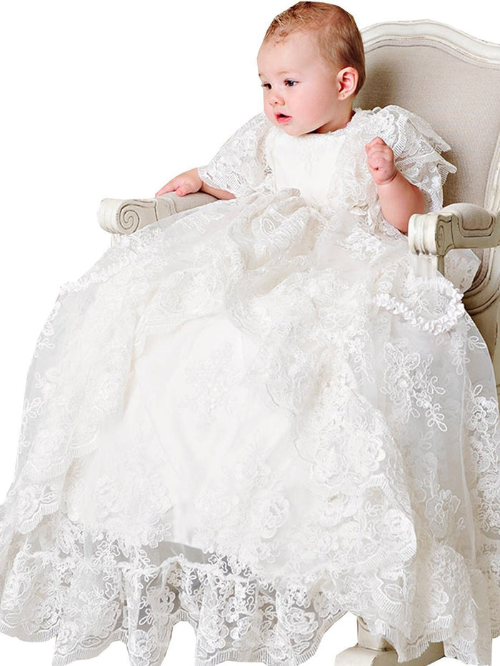 Lace Infant Baby Baptism Christening Gown with Bonnet