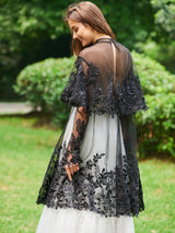 Long Sleeves High Neck Lace A-Line Evening Dress