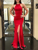 Mermaid Jewel Sweep Train Split Criss-Cross Straps Red Spandex Prom Dress