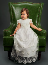 Lace Scoop Neck Cap Sleeves Tea-Length Christening Gown for Girls