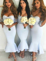 Tea-Length Trumpet/Mermaid Off-The-Shoulder Short Sleeves Bridesmaid Dress
