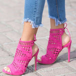 Peep Toe Stiletto Heel Lace-Up Lace-Up Casual Sandals