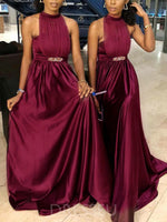 Floor-Length Halter Sleeveless A-Line Bridesmaid Dress