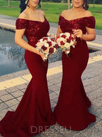Off-The-Shoulder Sweep/Brush Train Trumpet/Mermaid Sequins Bridesmaid Dress