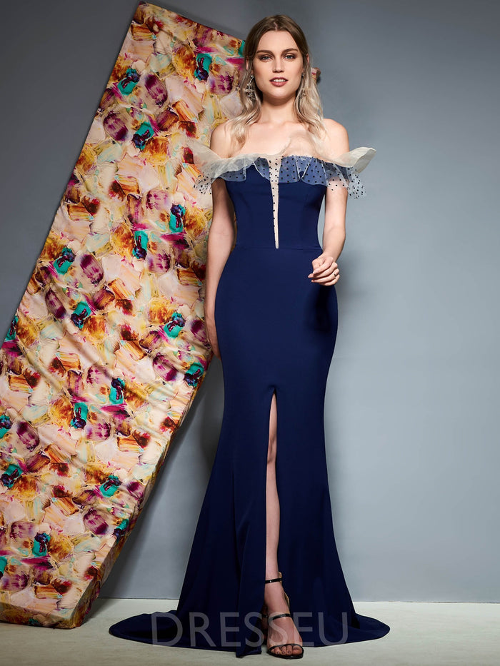 Sweep/Brush Sleeveless Off-The-Shoulder Split-Front Evening Dress