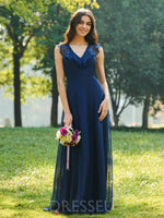 Sleeveless Floor-Length Ruffles V-Neck Bridesmaid Dress