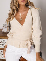 Lace-Up Thin Regular Standard Long Sleeve Sweater