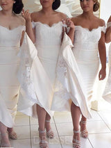 Lace Off-The-Shoulder Trumpet/Mermaid Long Bridesmaid Dress