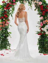 Lace Court Train Spaghetti Straps Sleeveless Luxury Wedding Dress