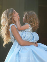 Ball Gown V-Neck Matte Satin Appliques Mother And Daughter Dress