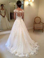 Lace Floor-Length Court Cap Sleeves Hall Wedding Dress