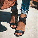 Open Toe Chunky Heel Ankle Strap Buckle Casual Western Sandals