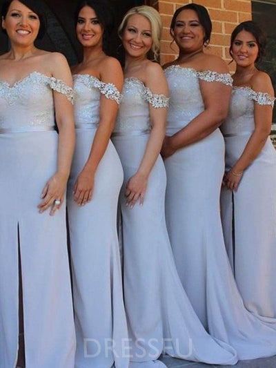Appliques Off-The-Shoulder Floor-Length Sweep/Brush Bridesmaid Dress