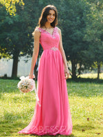 V-Neck A-Line Floor-Length Ruched Wedding Bridesmaid Dress