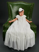 Scoop Neck Cap Sleeves Tea-Length Christening Gown for Girls
