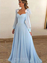 A-Line Floor-Length Long Sleeves Court Evening Dress