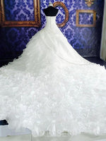 Halter Ball Gown Cathedral Train Sleeveless Organza Wedding Dress