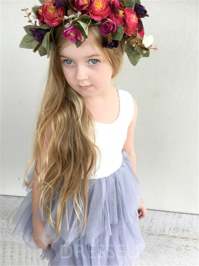 A-Line Tiered Tulle Short/Mini Flower Girl Dress