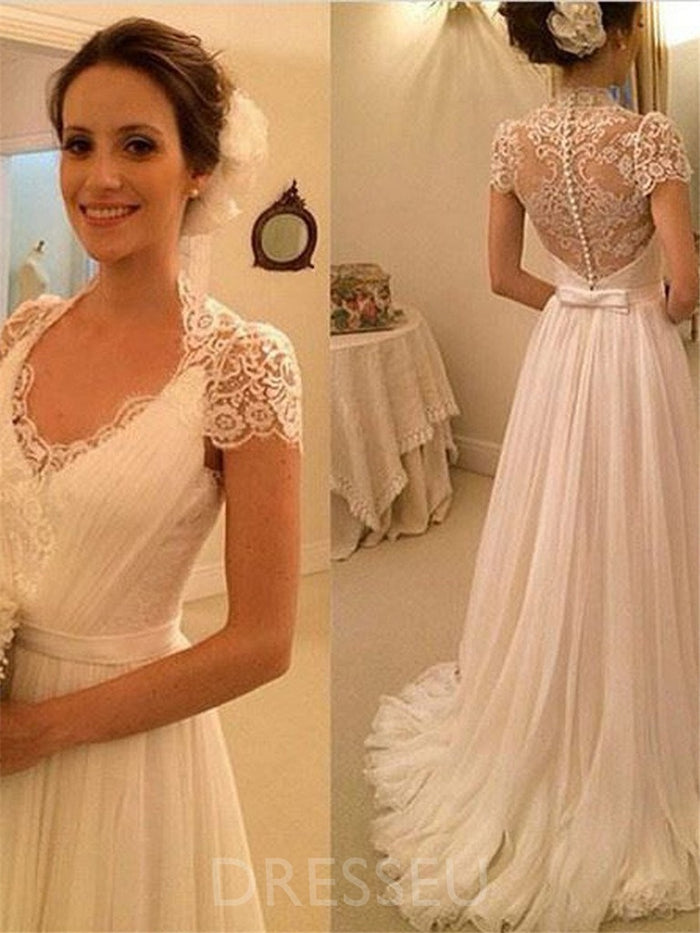 Short Sleeves V-Neck Sweep/Brush Train Floor-Length Tulle Beach Wedding Dress
